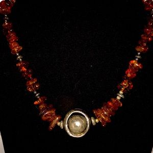 Necklace-Sterling Silver & Amber